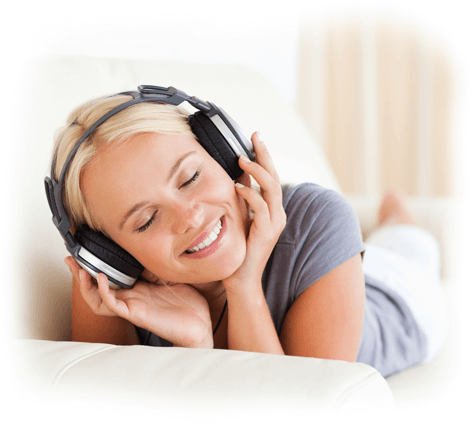 woman listens to music to reduce blood pressure